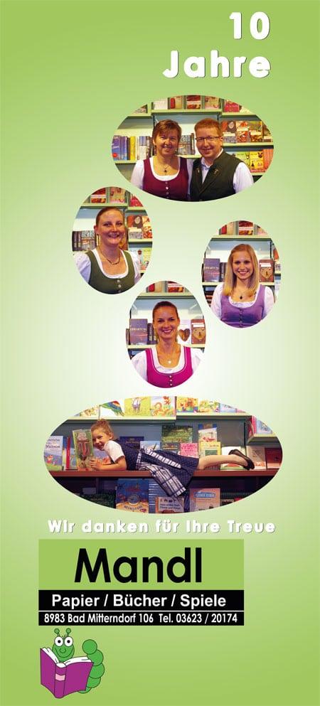 Beachflag Buchhandlung Mandl  zum 10-jährigen Jubiläum